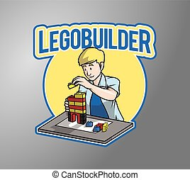 bloco, construtor, ilustração