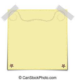 bloco de notas, amarela, vetorial