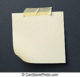 bloco de notas, com, fita adesiva, mensagem