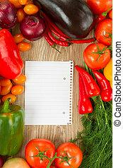 bloco de notas, legumes, vazio