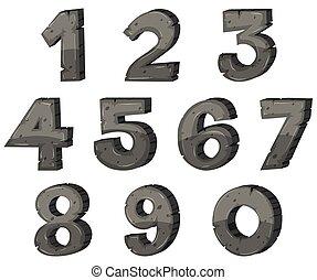 bloco, desenho, números, letra