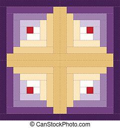 bloco, padrão, cabana, registro, colcha