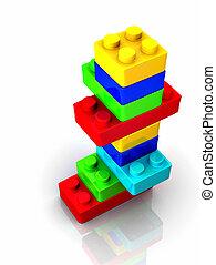 blocos brinquedo, render, coloridos, lego, -, backround, branca, 3d