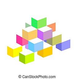 blocos, coloridos, 3d