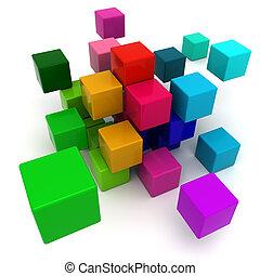 blocos, coloridos, fundo