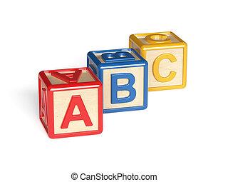 blocos, coloridos, madeira, alfabeto, isolado, fundo, branca