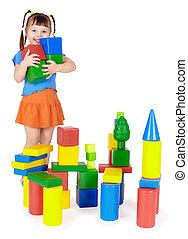 blocos, constrói, criança, castelo, feliz, saída