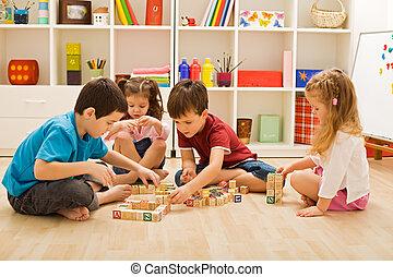 blocos, jogar crianças