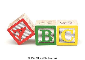 blocos, madeira, alfabeto, isolado, fundo, branca