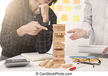 blocos, ponto, game., concept., mão, projeto, madeira, plano, construção, reunião, torre, engenheiro