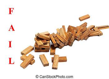 blocos, torre, negócio, abstratos, meanindg, fracasso, madeira, fundo, branca, desmoronado