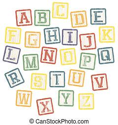 blocs, alphabet, vecteur, eps8, collection., bébé