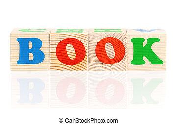 blocs bois, arrangé, dans, les, mot, livre