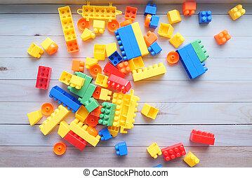 blocs bois, construire supérieur, table, vue, coloré