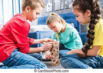 blocs bois, enfants jouer