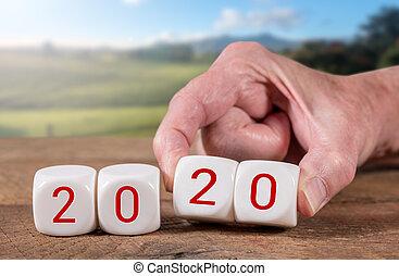 blocs, bois, ensoleillé, 2020, fond, table, orthographe, paysage