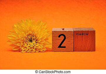 blocs, bois, jaune, 2, fond, pâquerette, orange, mars