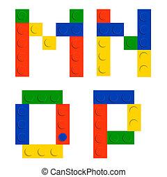 blocs, brique, construction, alphabet, isolé, jouet, ensemble, fait, blanc