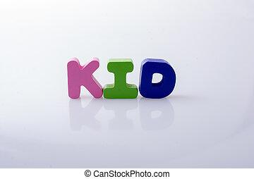 blocs, coloré, écrit, lettre, mot, gosse