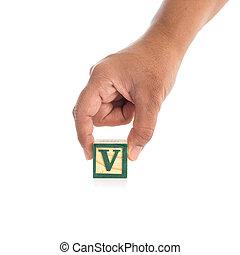"""blocs, coloré, alphabet, isolé, main, """"v"""", tenue, blanc"""