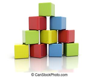 blocs, coloré, bâtiment