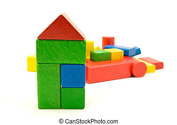 blocs, coloré, bois, bâtiment
