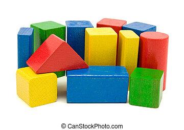 blocs, coloré, bois