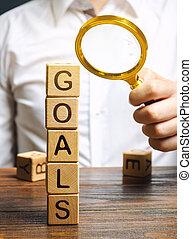 blocs, concept, target., buts, exécution, plan., businessman., purposefulness., accomplir, business, perseverance., heights., mot, planification, bois, atteindre, nouveau, goal.