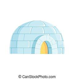 blocs, construit, hiver, maison, glacé, vecteur, illustration, igloo, froid, glace