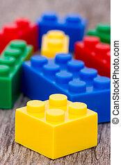 blocs, couleur, plastique, fond, bois