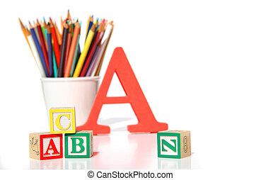 blocs, crayons, bois, bâtiment