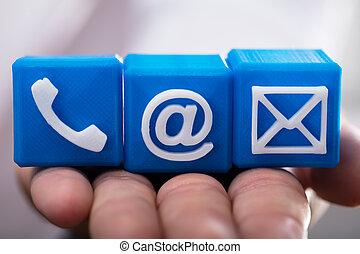 blocs, cubique, personne, contact, divers, tenue, options