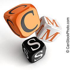 blocs, dés, cms, orange, noir