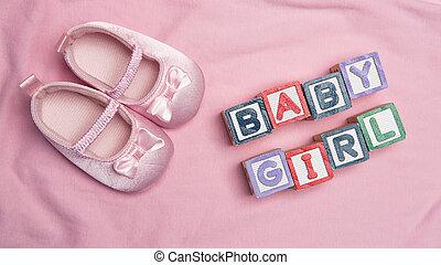 blocs, dehors, girl, butins, bébé, spelled, rose