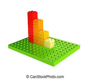 blocs, diagramme, plastique, croissance, jouet
