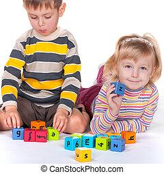 blocs, enfants jouer