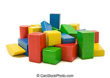 blocs, fond couleur, blanc