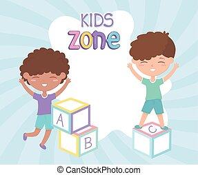 blocs, garçons, jouets, zone, gosses, jouer, mignon, alphabet, peu