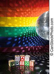 blocs, gay, sous, orthographe, fierté, dehors