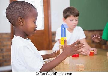 blocs, jouer, élèves, bâtiment, mignon