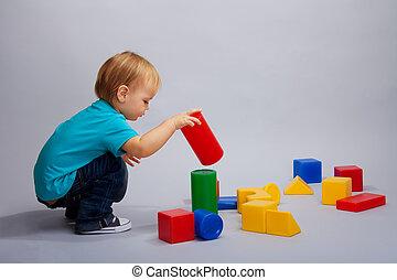 blocs, jouer, gosse