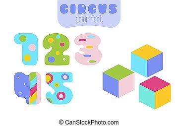 blocs jouet, coloré, 1, 4, 5, nombres, 3, 2, dessin animé
