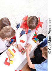 blocs jouet, jouer, enfants