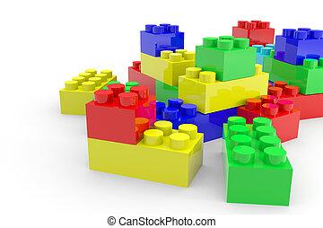 blocs jouet, lego, couleur, isolé, white.