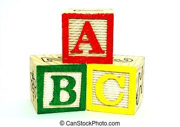 blocs, jouet, -, lettres