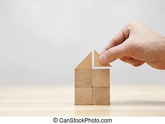 blocs, maison bois, bâtiment, main