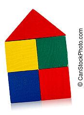blocs, maison bois