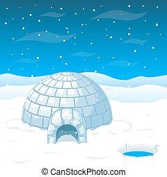 blocs, maison, illustration, antarctique, vecteur, glace, esquimau, froid