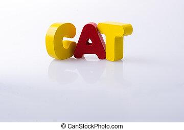 blocs, mot écrit, lettre, chat