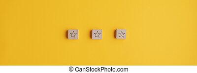 blocs, placé, les, rang, forme, étoile, bois, trois